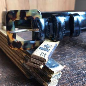Black Patent Leather Belt w/ Faux Tortoise Buckle